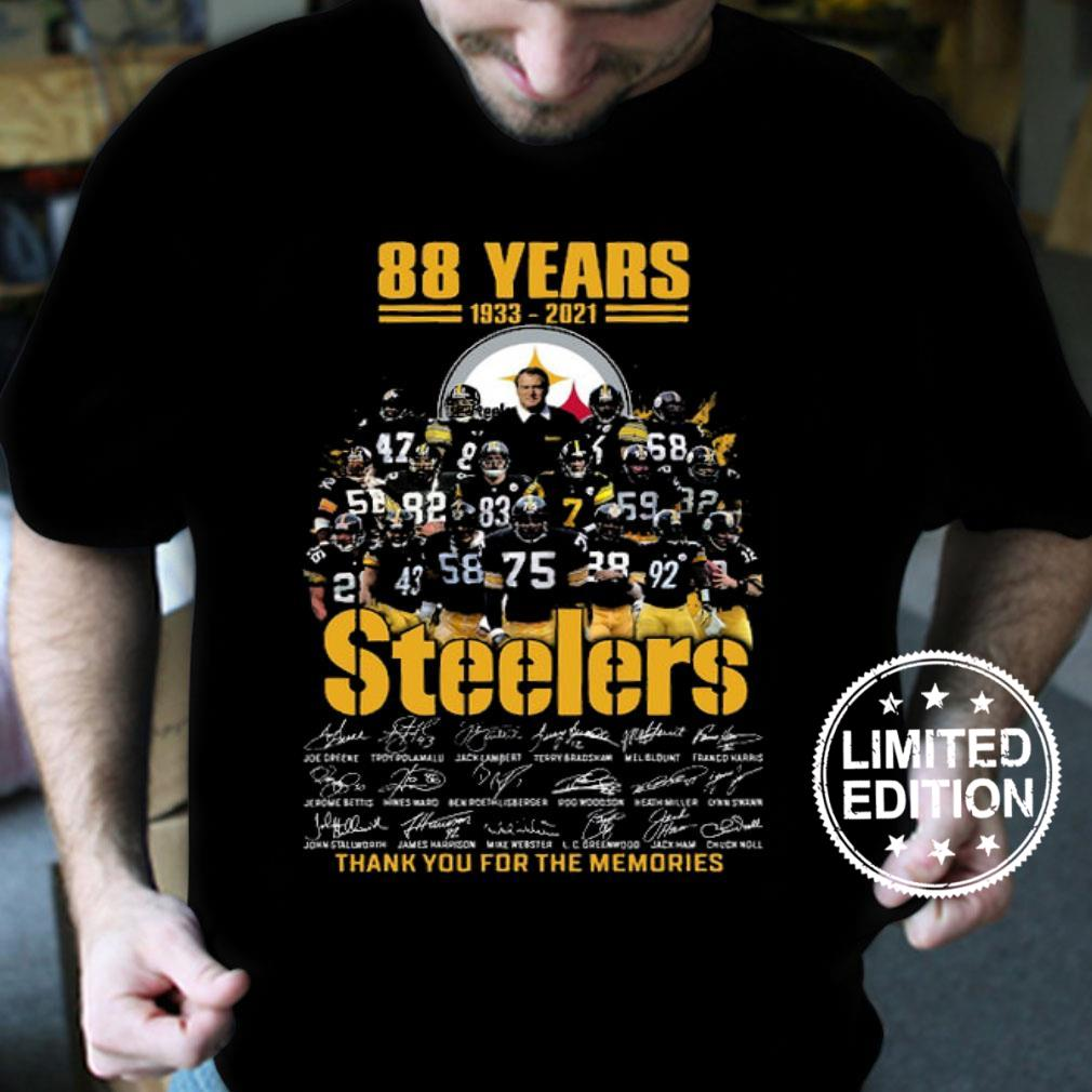 88 years 1933 2021 steelers thank you for the memories shirt