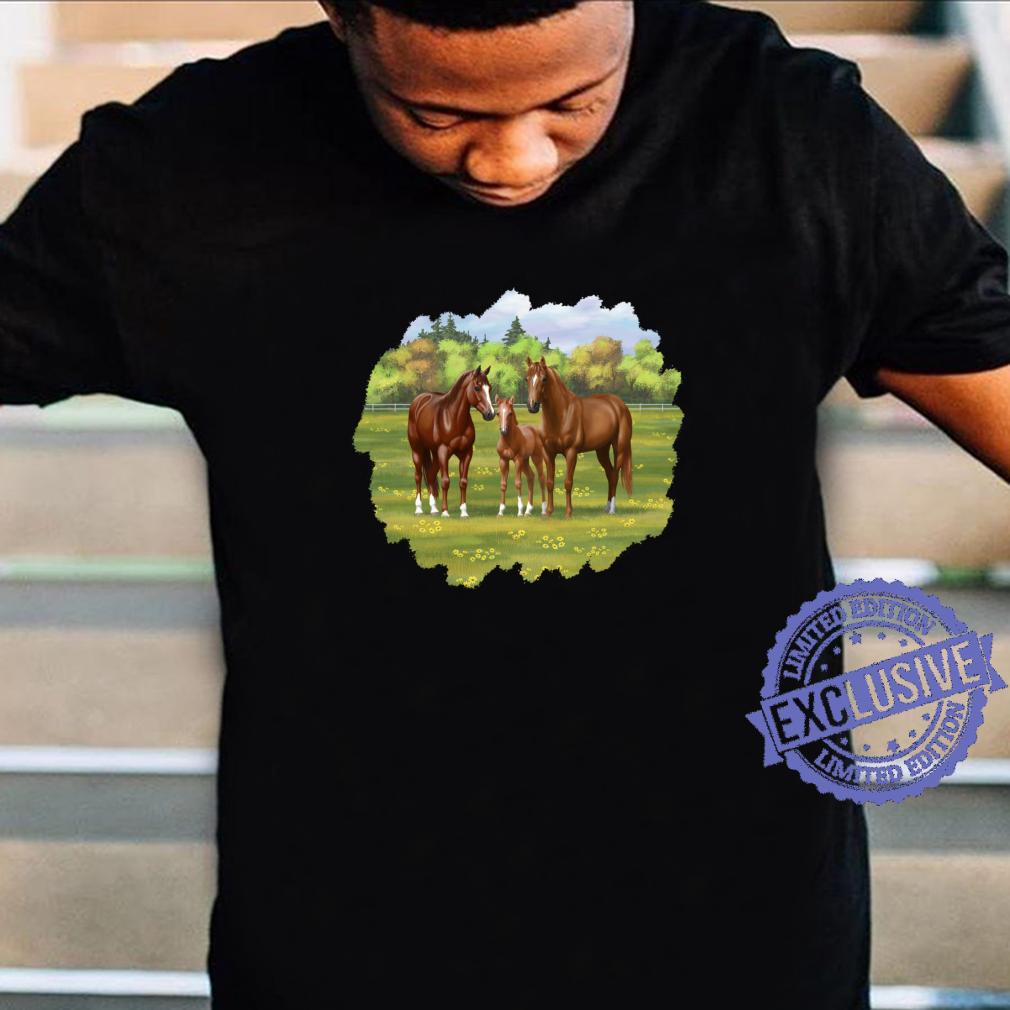 Beautiful Chestnut Sorrel Quarter Horses In Summer Pasture Shirt