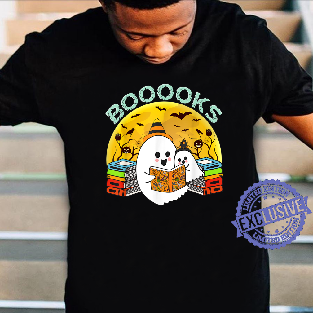 Booooks Cute Ghost Reading Books Halloween Library Shirt