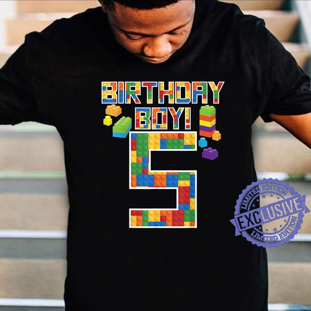 Cute 5th Birthday 5 Years Old Block Building Boys Shirt