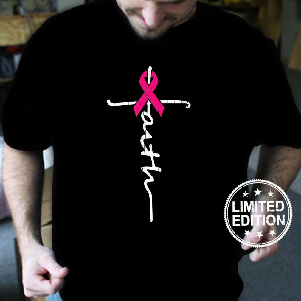 Faith Cross Breast Cancer Awareness Ribbon Christian Warrior Shirt