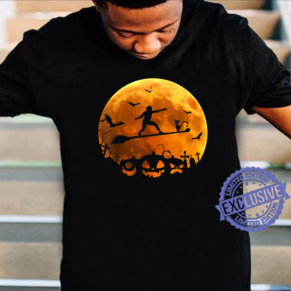 Fencing Witch Riding Broom Moon Halloween Costume Black Cat Shirt
