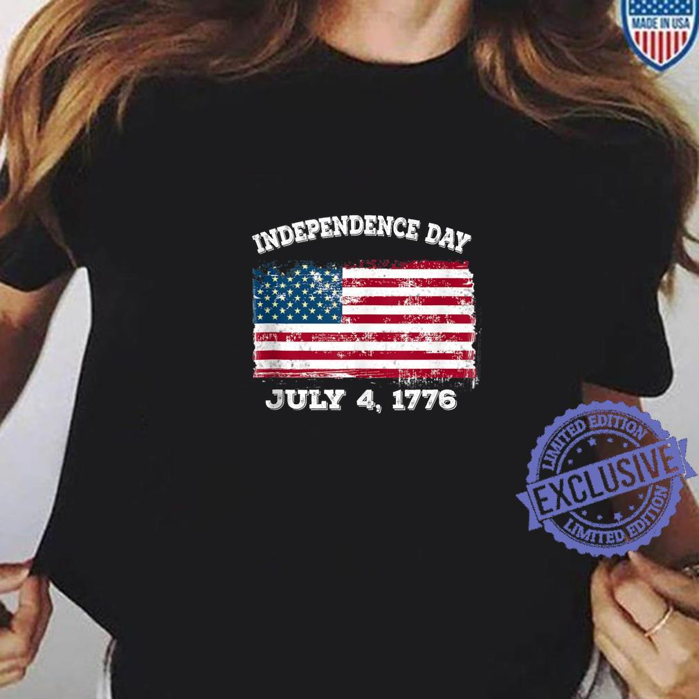 Independence Day July 4 1776 Fourth of July American Flag Shirt ladies tee