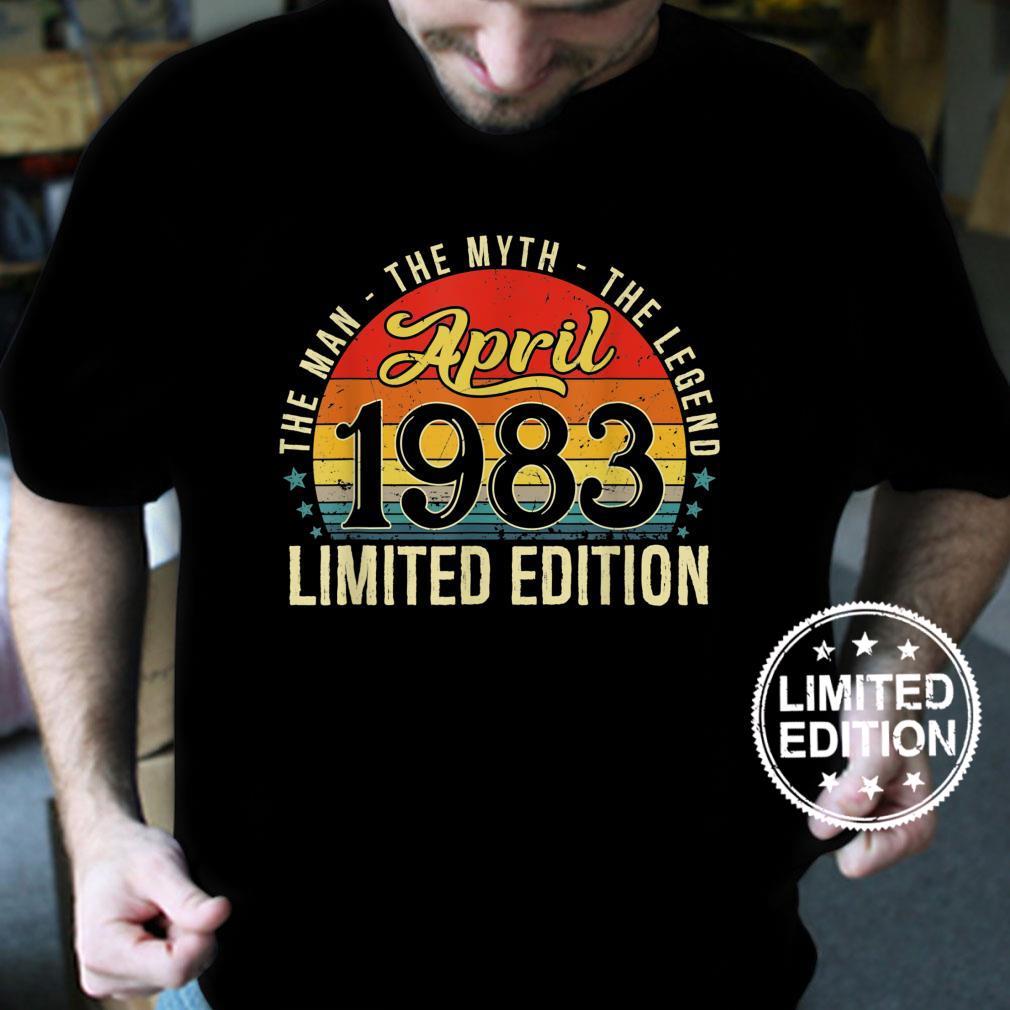 Mens Vintage April 1983 Man Myth Legend Distressed 38 Years Old Shirt