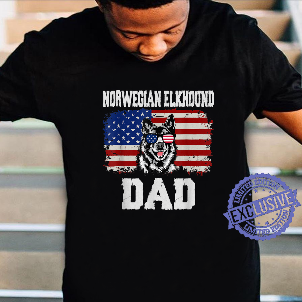 Norwegian Elkhound Dad American Flag Shirt