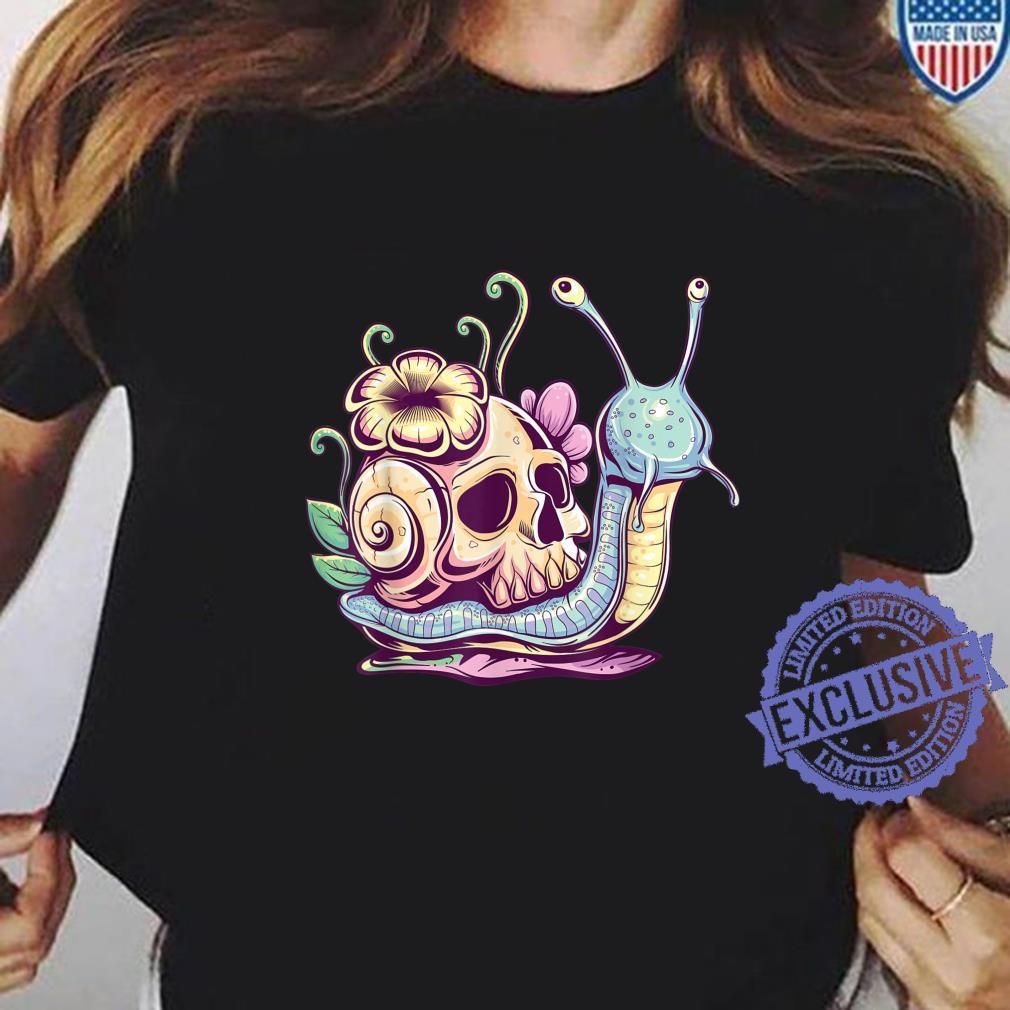 Pastel Goth Cute Creepy Snail Skull Kawaiihera Emo Egirl Shirt ladies tee