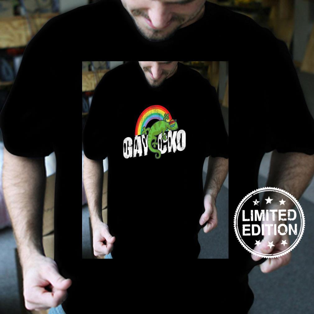 Retro Vintage LGBT Pride Rainbow Gaycko Gecko Lizard Shirt