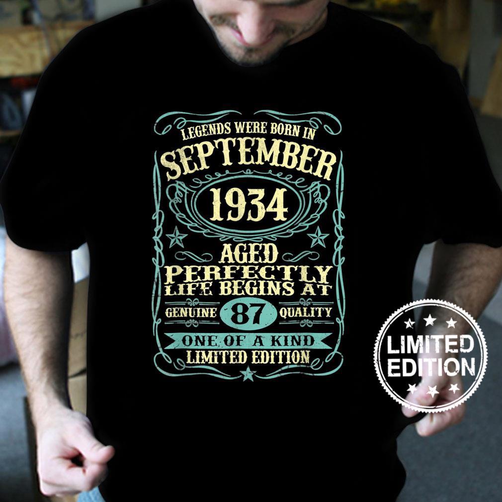 September 1934 87th Birthday 87 Year Old Shirt
