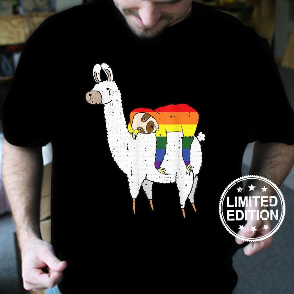 Sloth Riding Llama Gay Pride Cute Animal LGBTQ Proud Ally Shirt