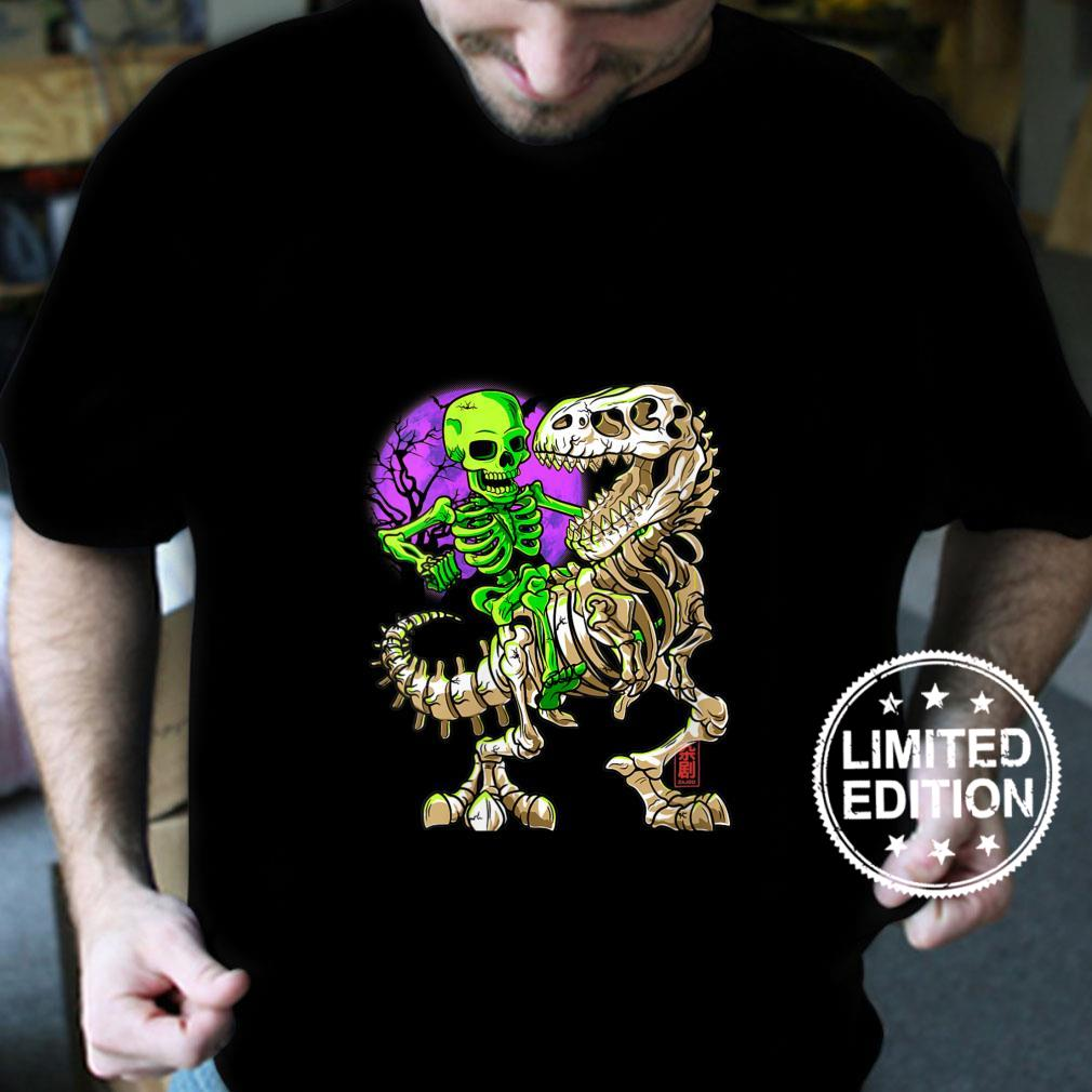 Womens Green Skeleton TRex Halloween Fossil Dinosaur T Rex Shirt