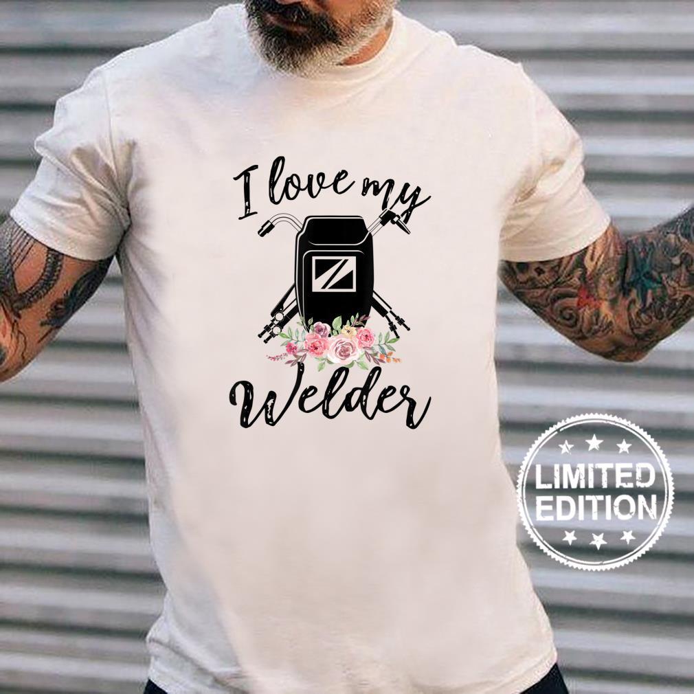 Womens I Love My Welder Floral Welder Wife Mother's Da Shirt long sleeved