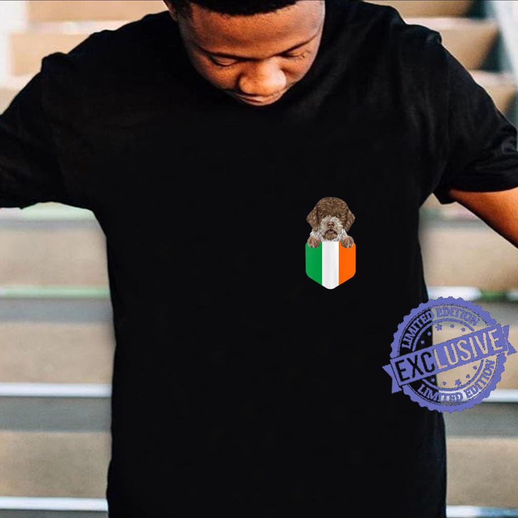 Womens Ireland Flag Lagotti Romagnoli Dog In Pocket Shirt