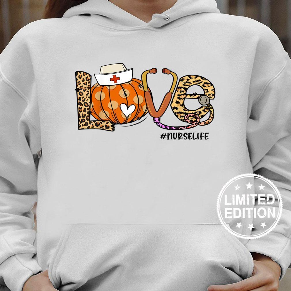 Womens Love Nurse Life Pumpkin Leopard Fall Halloween Shirt hoodie
