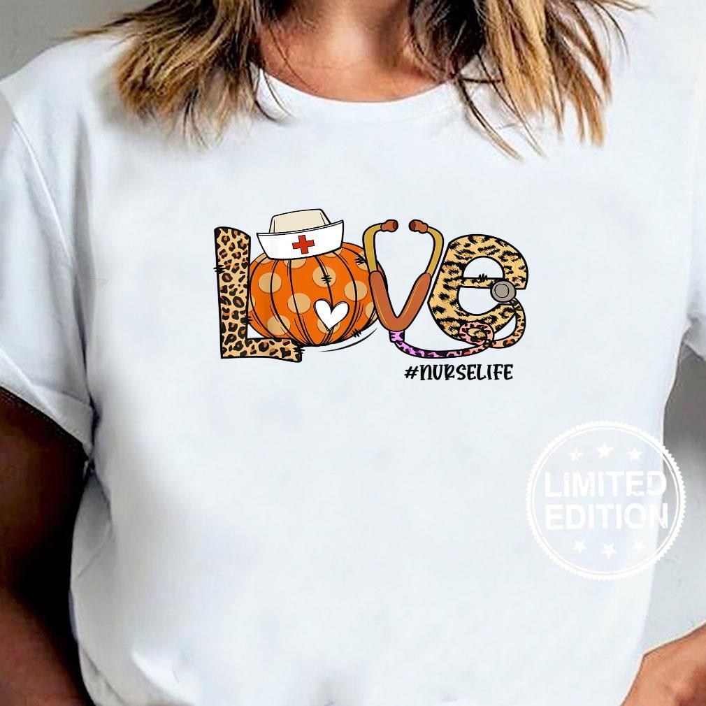 Womens Love Nurse Life Pumpkin Leopard Fall Halloween Shirt ladies tee
