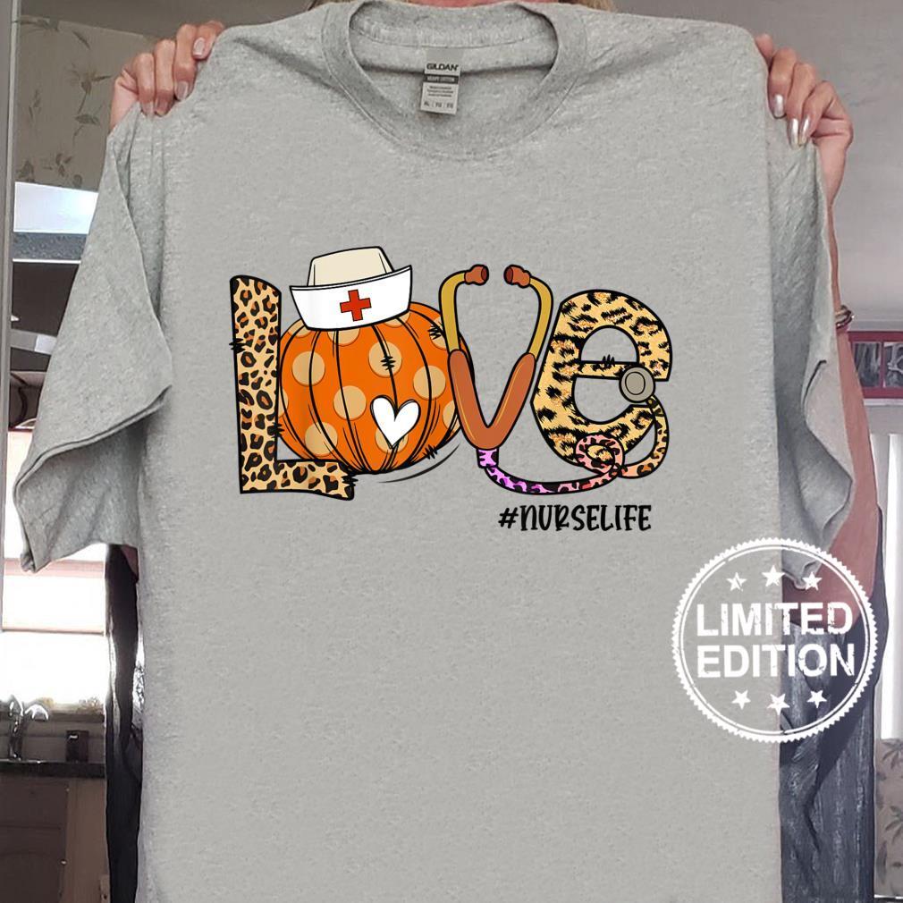 Womens Love Nurse Life Pumpkin Leopard Fall Halloween Shirt sweater