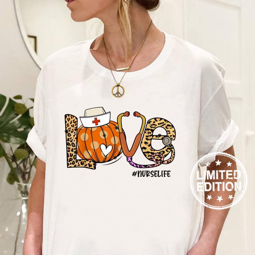 Womens Love Nurse Life Pumpkin Leopard Fall Halloween Shirt