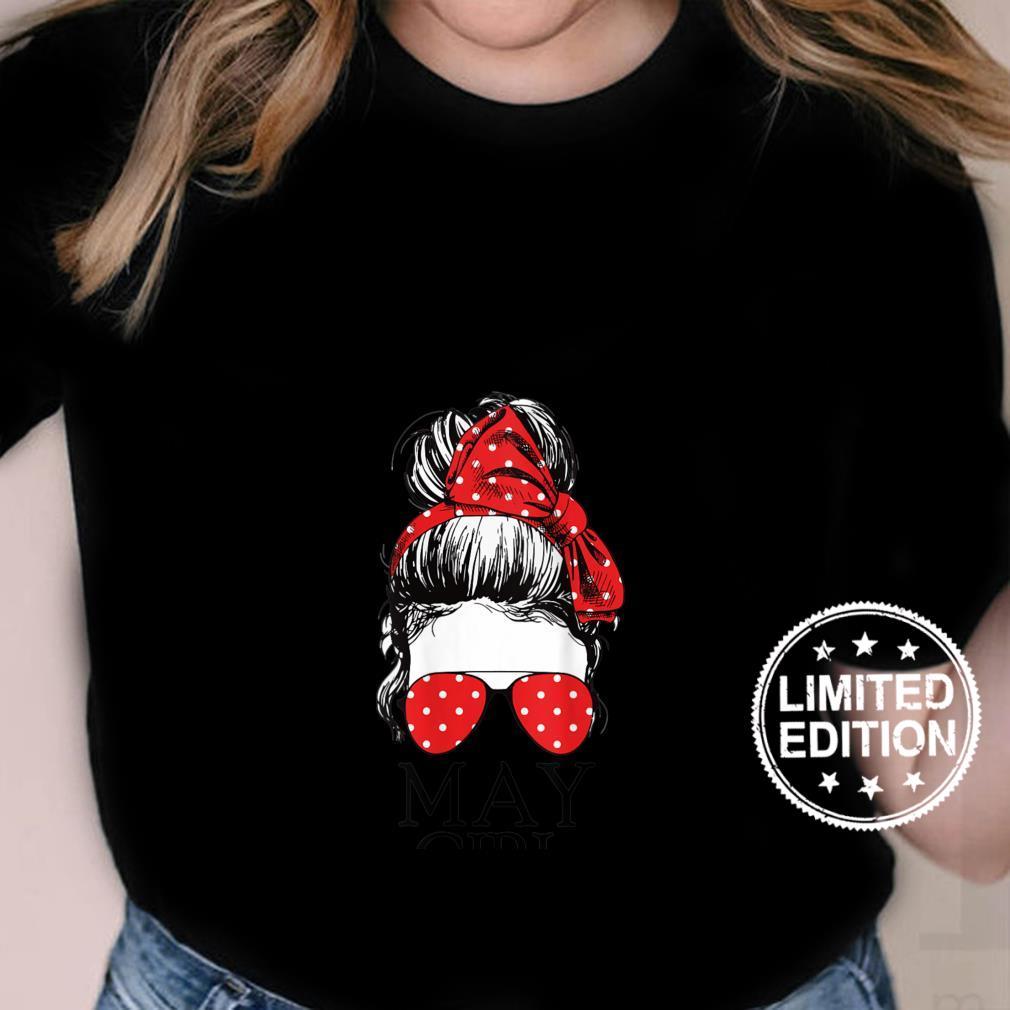 Womens May Girl Red Bandana Sunglass Face Girls Birthday Shirt ladies tee