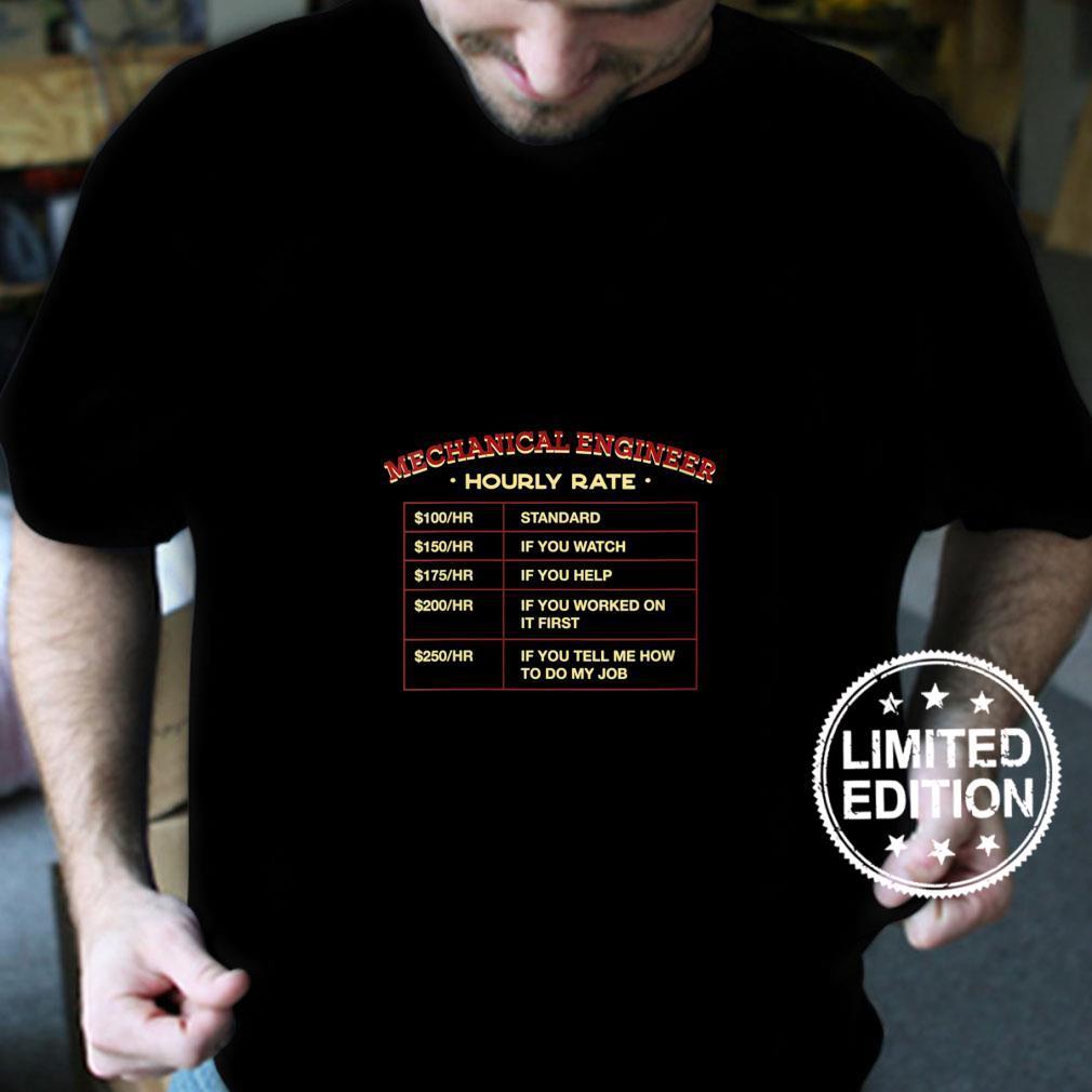Womens Mechanical Engineer Hourly Rate Employee Machine Engineer Shirt