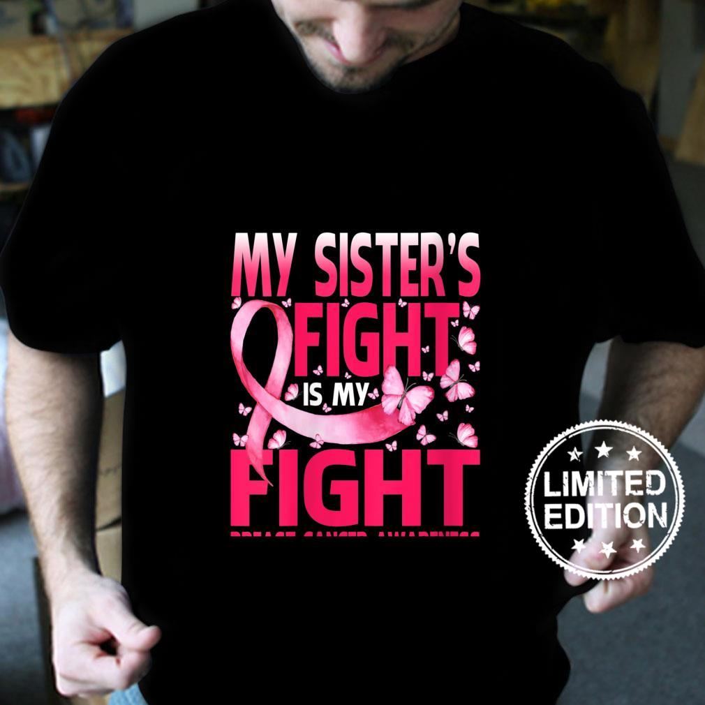 Womens My Sister's Fight Is My Fight Breast Cancer Butterfly Shirt