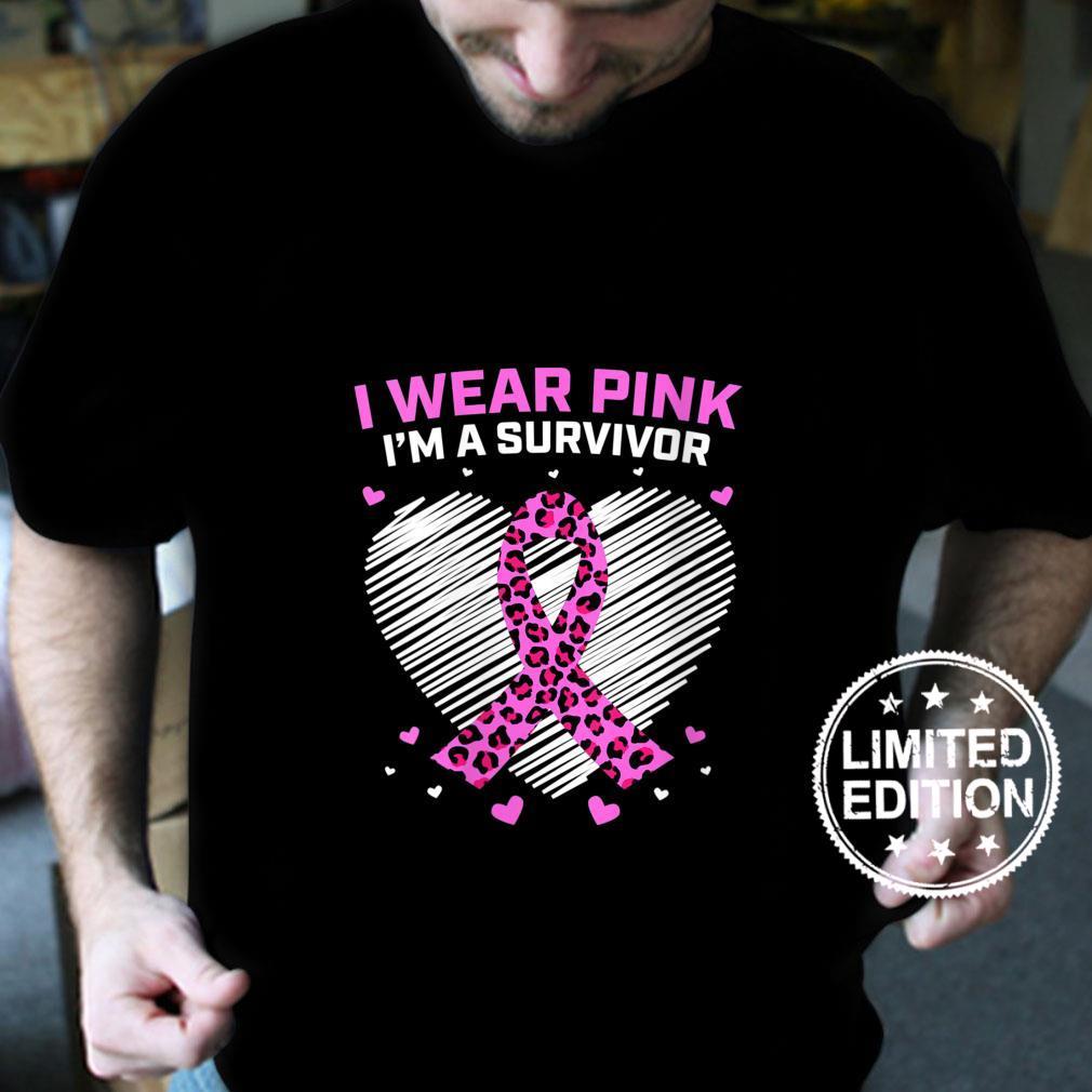 Womens Pink 23 Year Breast Cancer Survivor Cheetah Heart Shirt