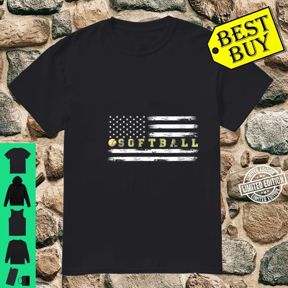 Womens Softball Catcher Vintage American Flag Shirt