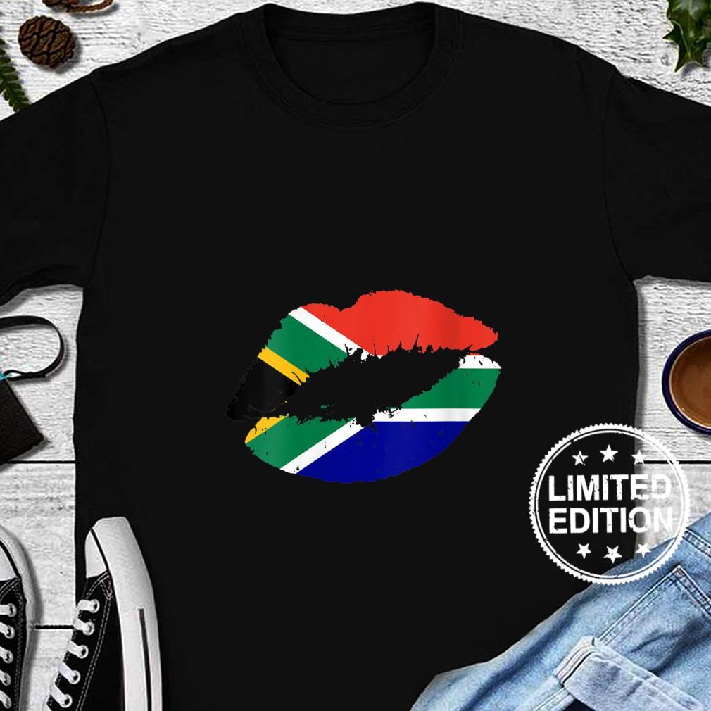 Womens South Africa Flag Lips Kiss Pride South African Roots Girls Shirt long sleeved