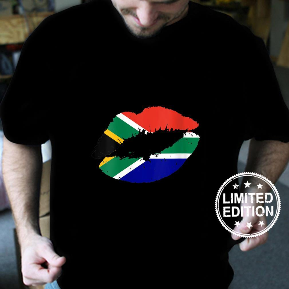 Womens South Africa Flag Lips Kiss Pride South African Roots Girls Shirt