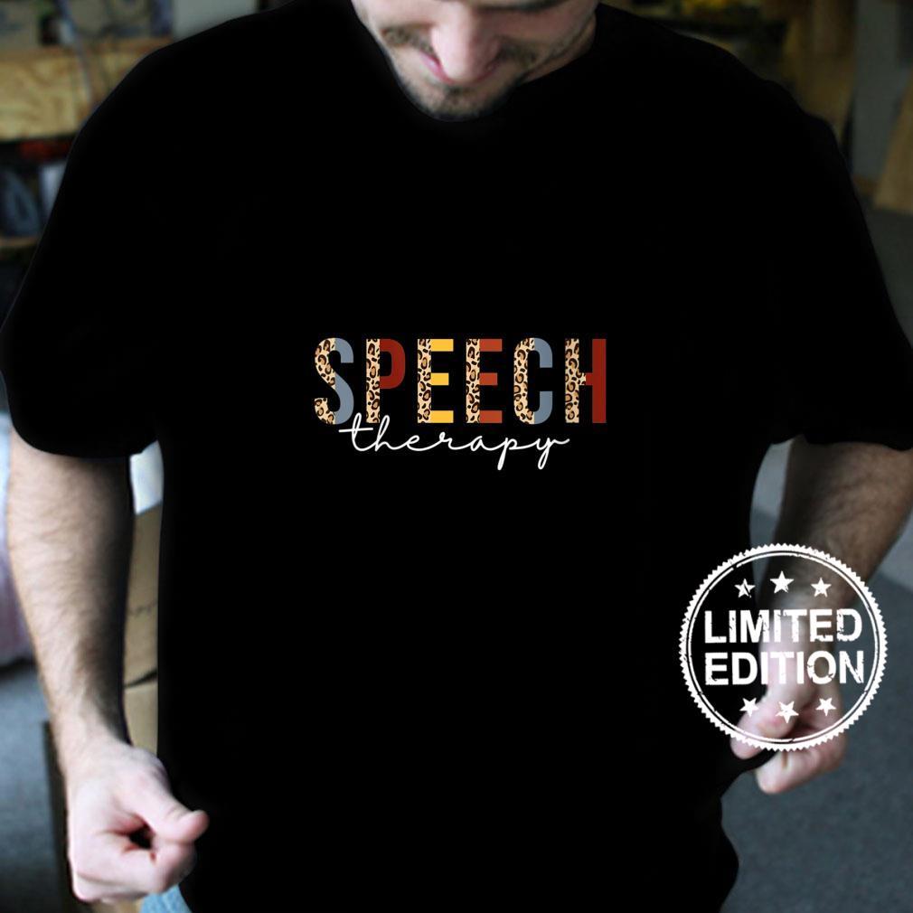 Womens Speech Therapy Leopard Speech Language Pathology Month SLP Shirt