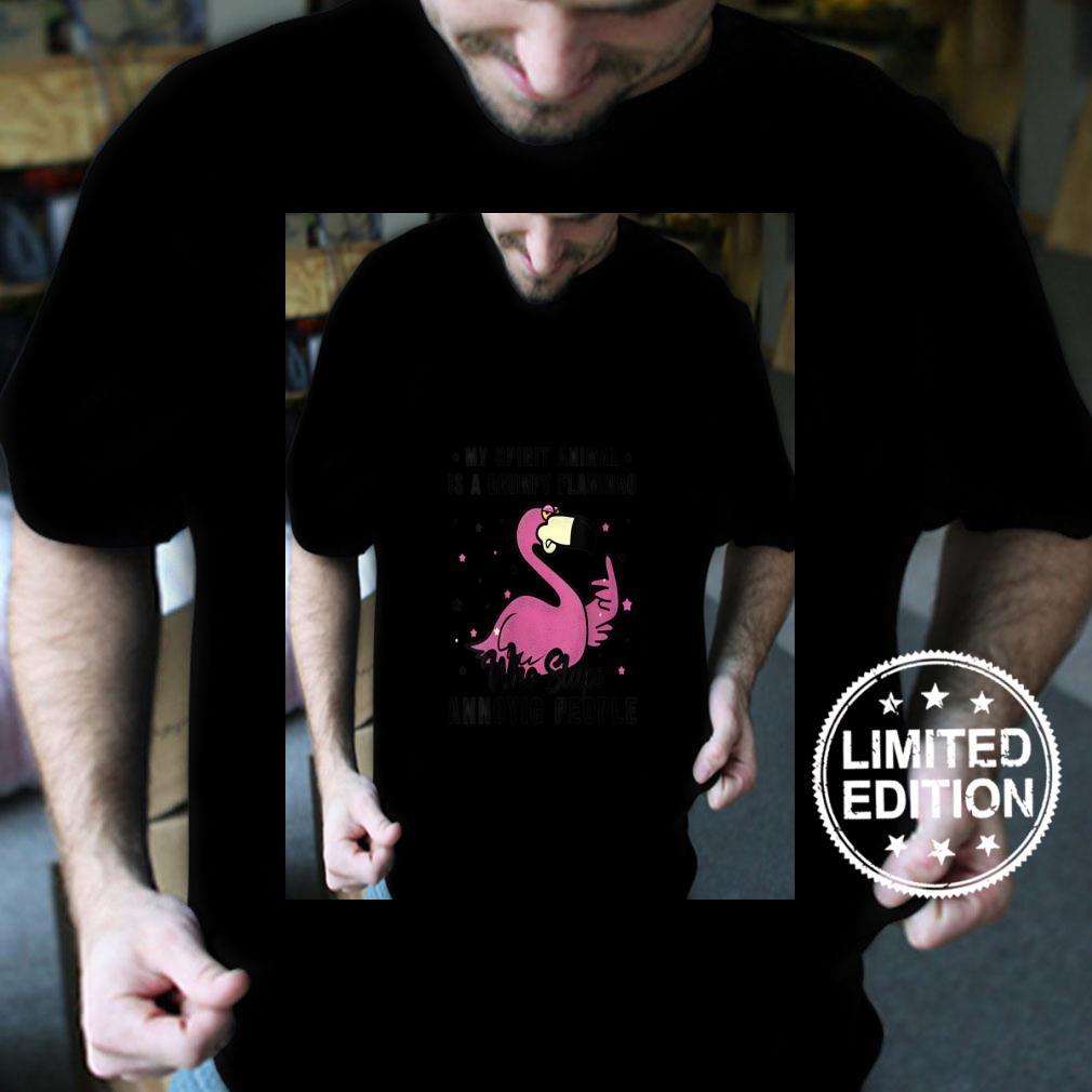 Womens Vintage My Spirit Animal Is A Grumpy Flamingo bird Shirt
