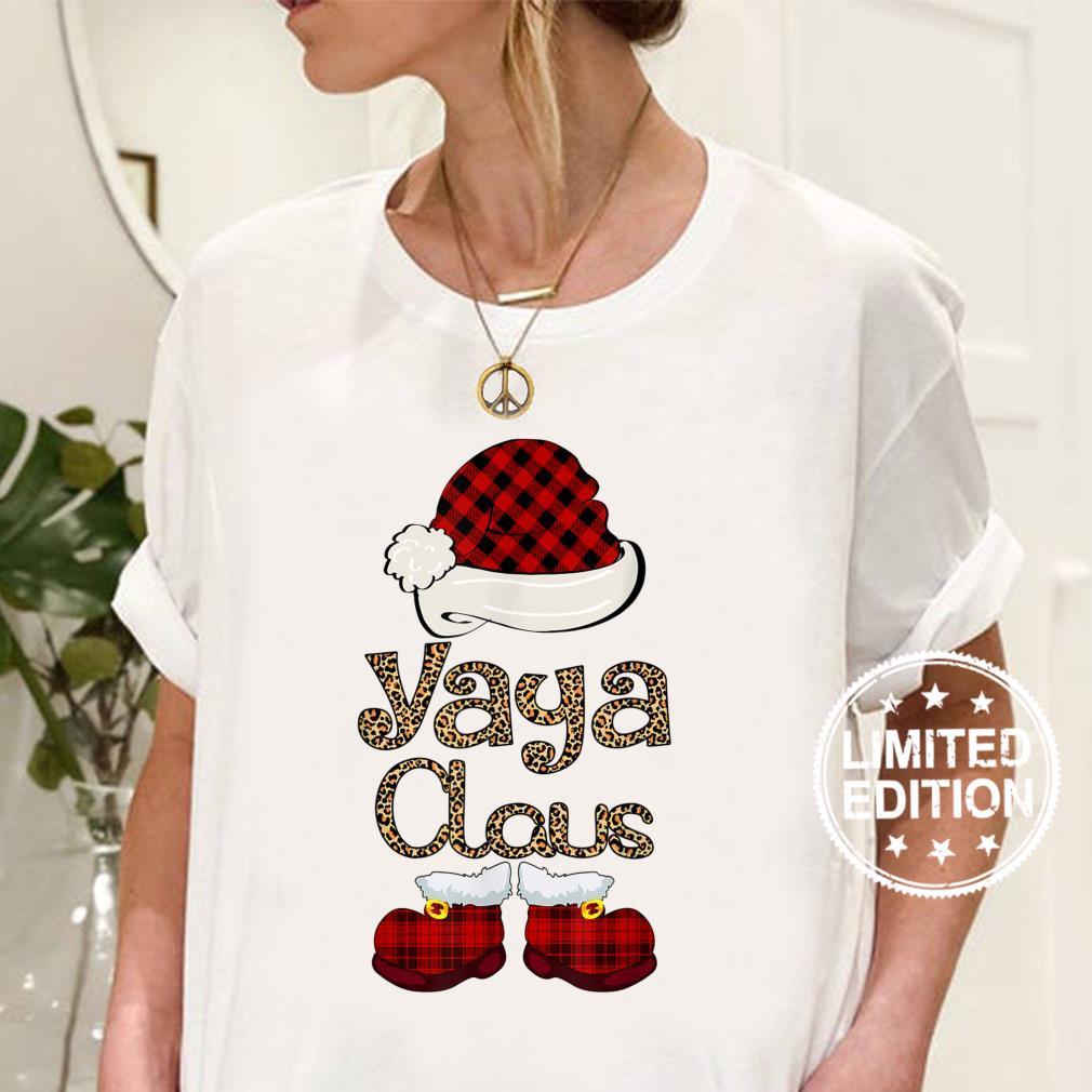 Yaya Claus Christmas Leopard Grandma Shirt