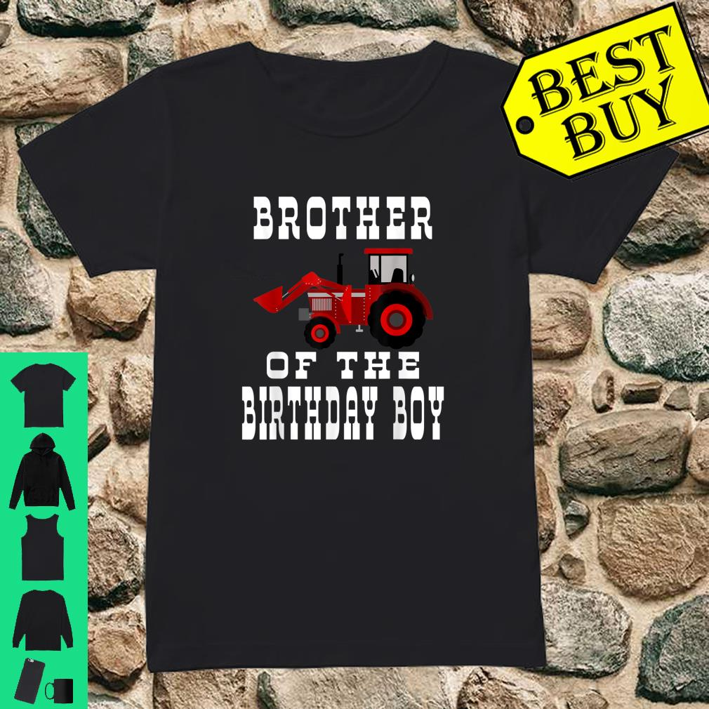 Brother of the Birthday Boy Red Tractor Matching Party Shirt ladies tee