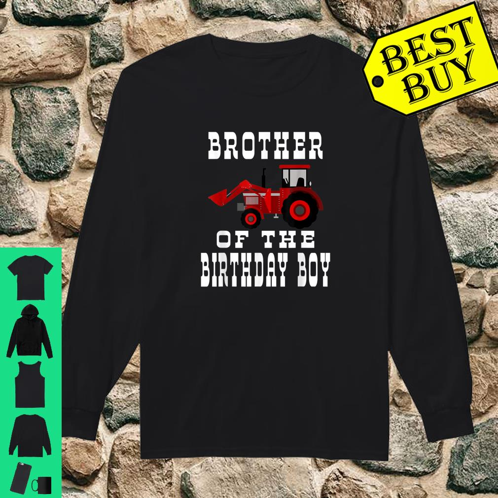 Brother of the Birthday Boy Red Tractor Matching Party Shirt long sleeved