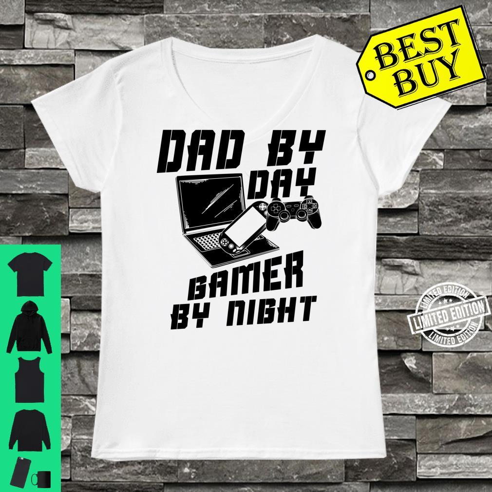 Dad By Day Gamer By Night Game Father's Day Shirt ladies tee