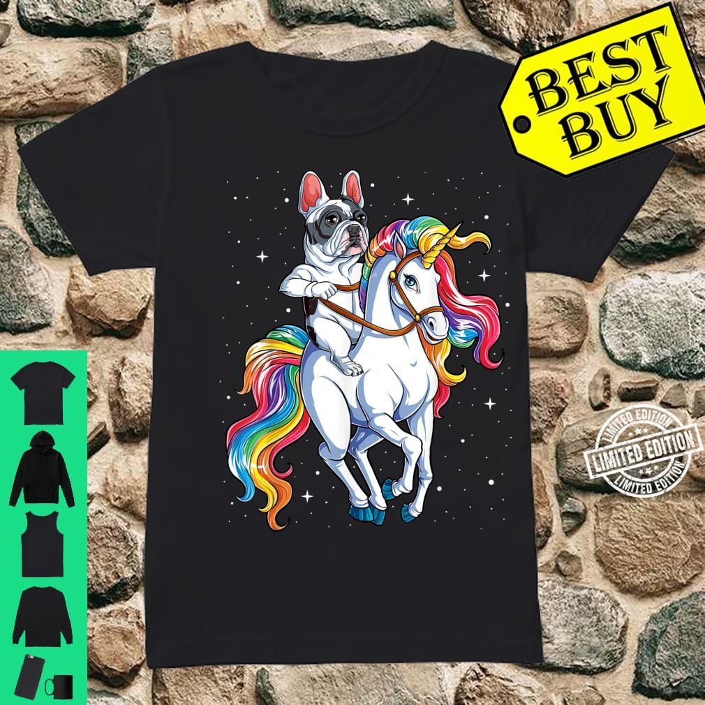 French Bulldog Riding Unicorn Girls Rainbow Galaxy Shirt ladies tee