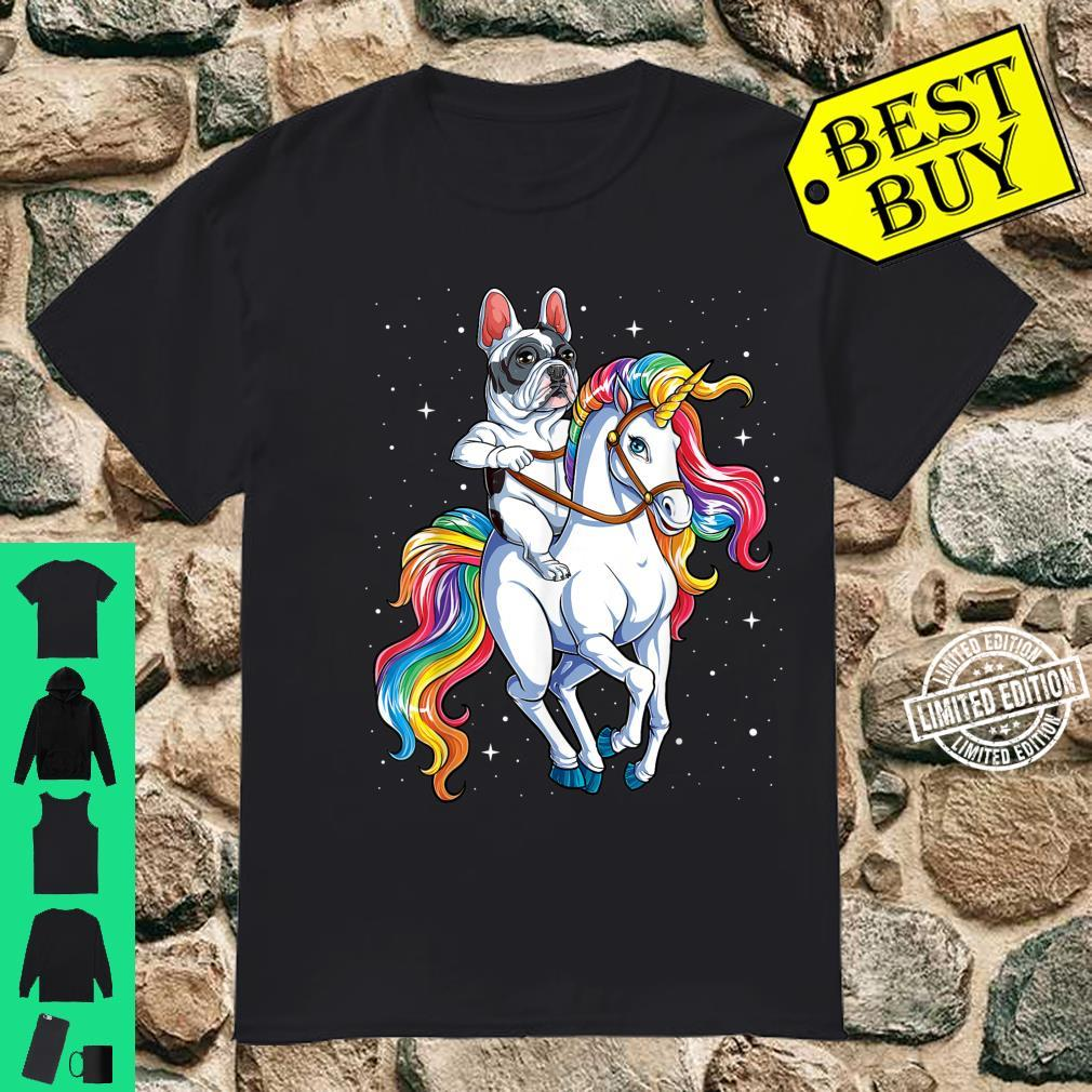 French Bulldog Riding Unicorn Girls Rainbow Galaxy Shirt