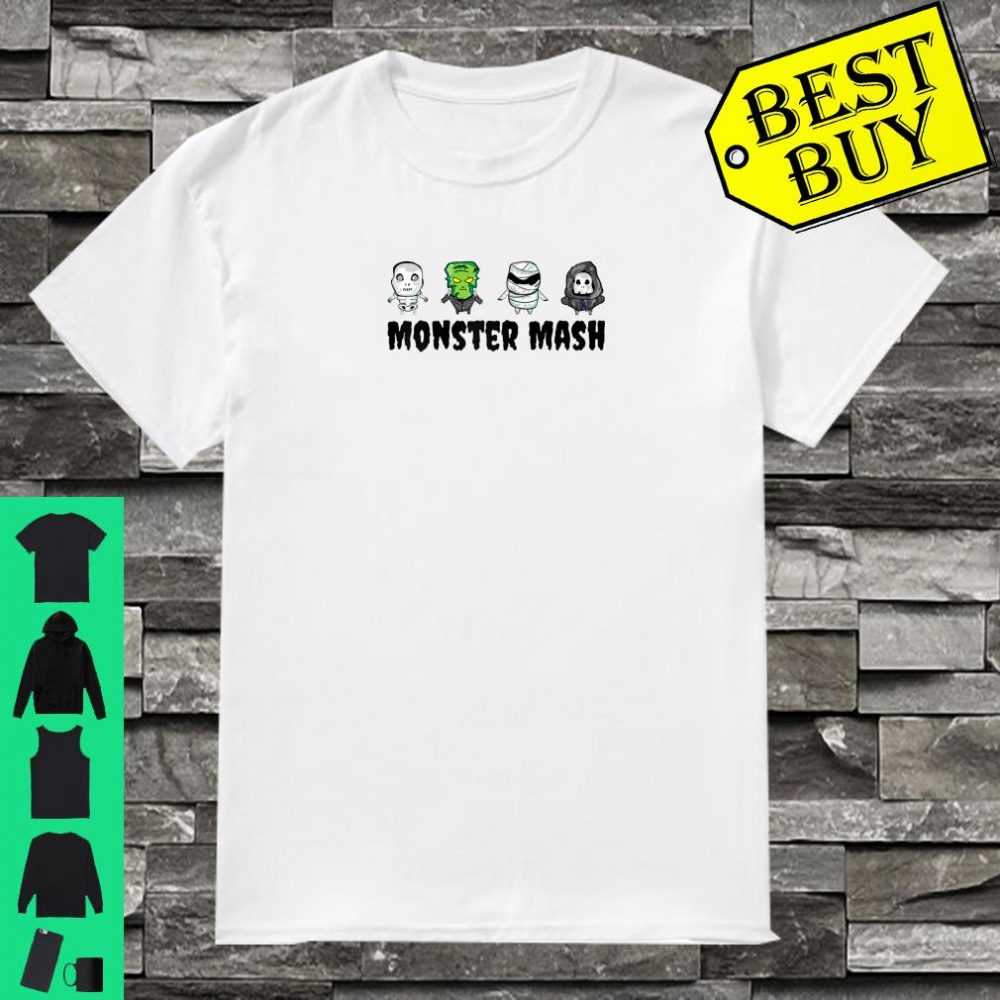 Halloween Cute Monster Mash Skeleton, Death, Mummy, Monster Raglan Shirt