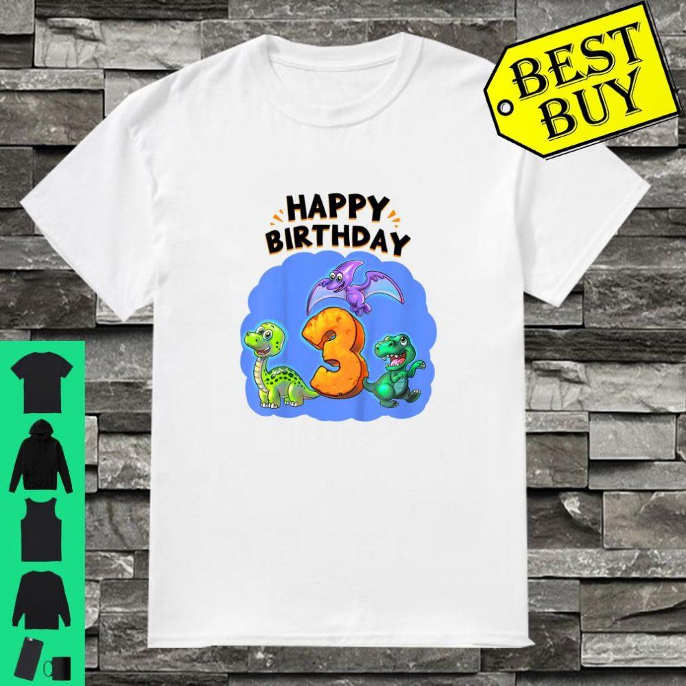 Kinder Geburtstag 3 Jahre alt Dino Shirt