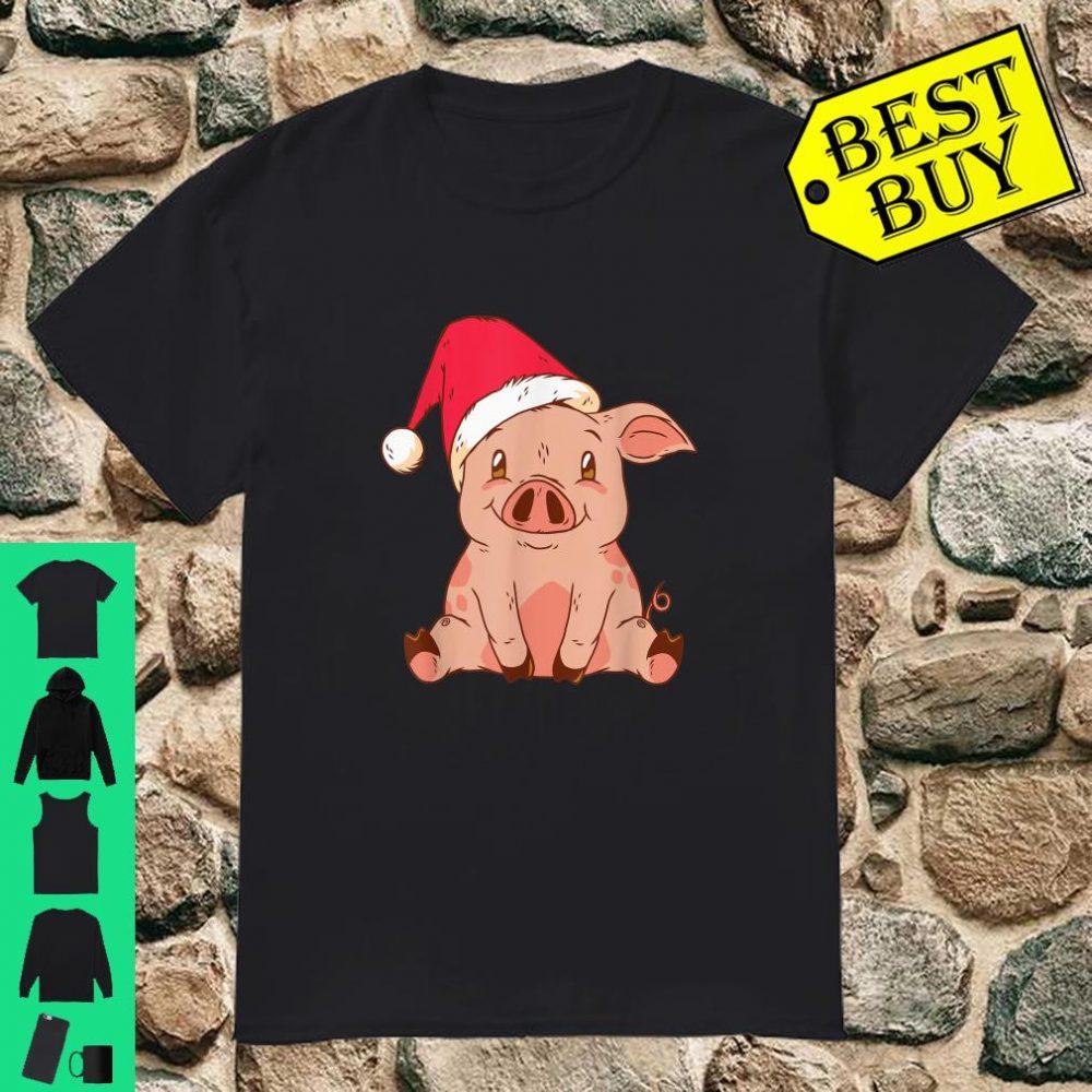 Pig with Santa Hat Christmas shirt