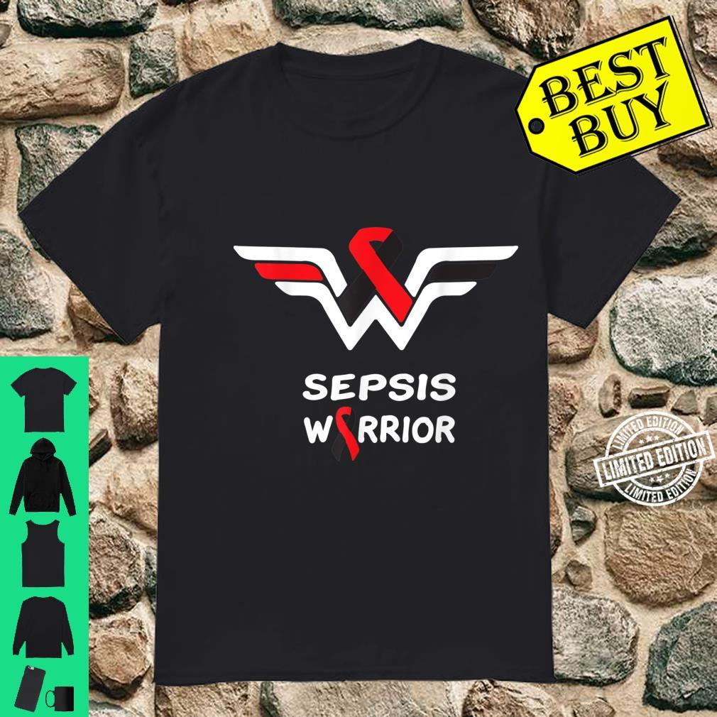 Sepsis Awareness Warrior Support Survivor Red & Black Ribbon Shirt