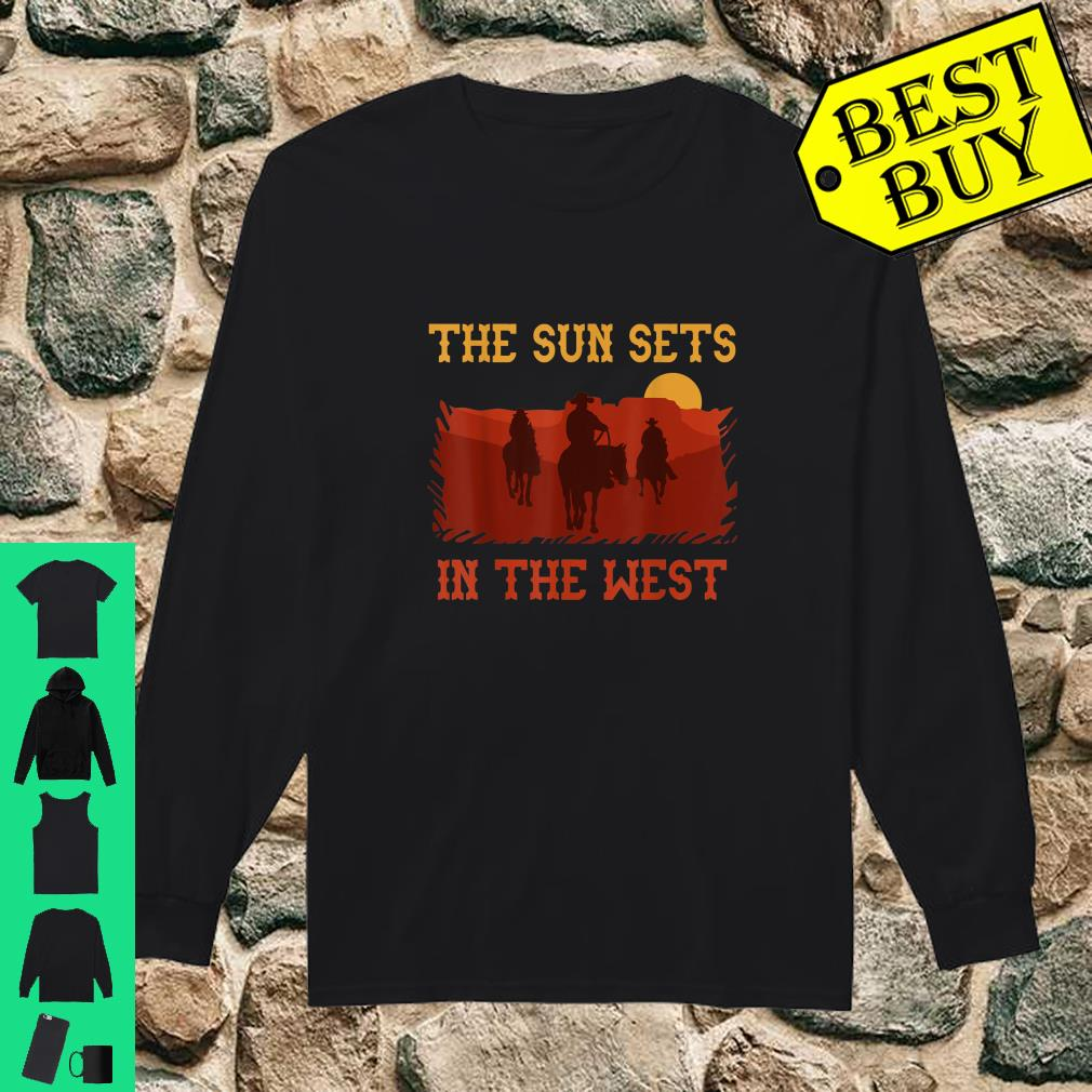 The Sun Sets in the West Cowboy Horses Sunset Western shirt long sleeved