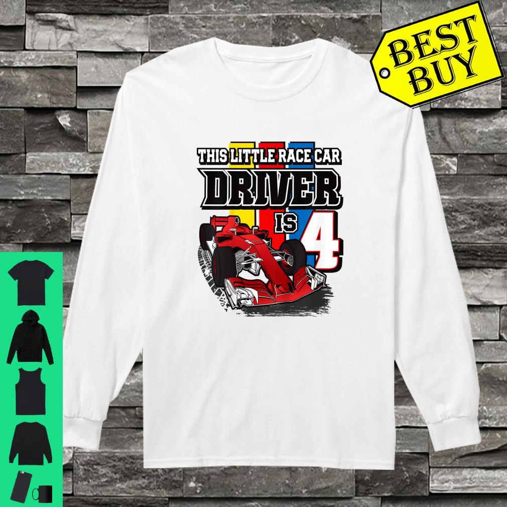 This little race car driver is 4 shirt long sleeved