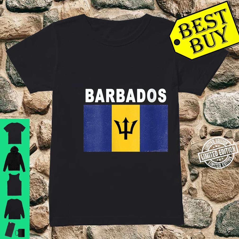 Womens Barbados National Flag Distressedeffect Design Shirt ladies tee