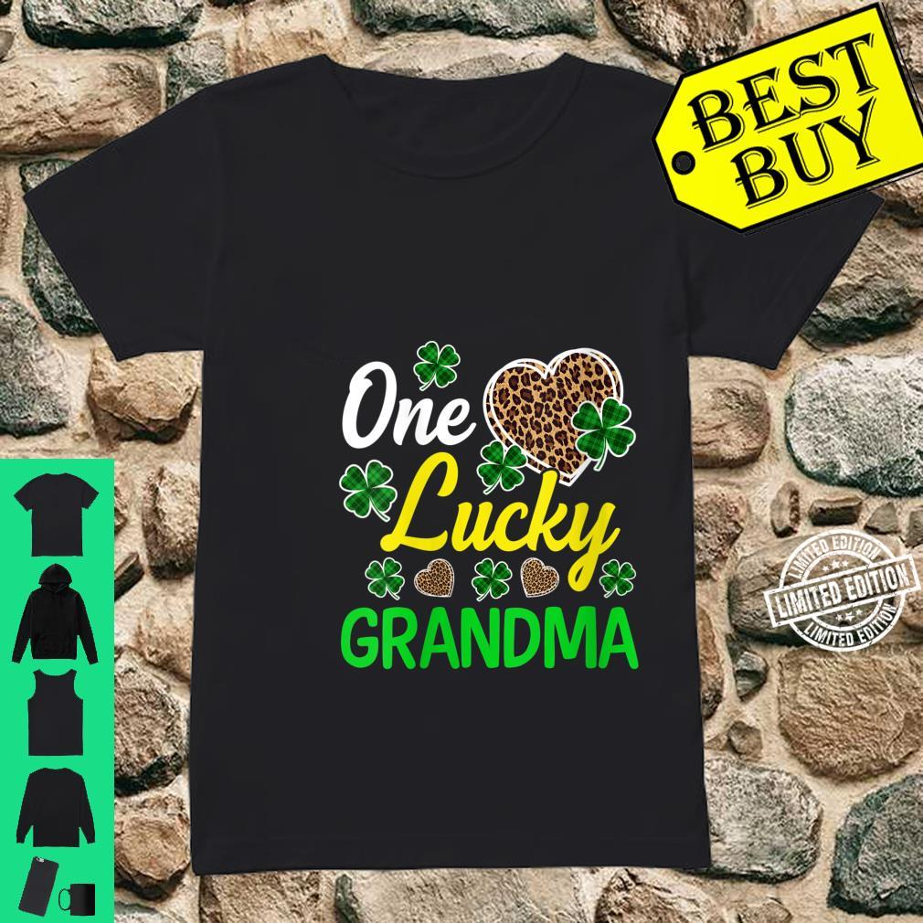 Womens One Lucky Grandma Lucky Shamrock St Patrick's Day Leopard Shirt ladies tee